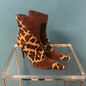 Casadei Leopard Suede Stiletto Ankle Boots Booties